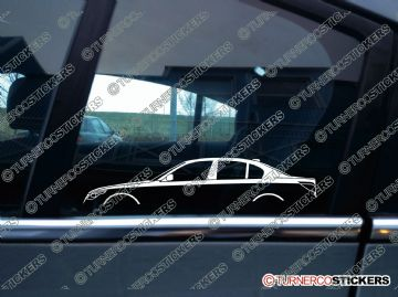 2x Car Silhouette sticker - BMW e60 5-series saloon / sedan (2003-2009) 530d, 525i, 520i, 530i